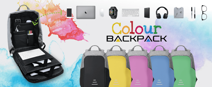 Sac à dos Colour Backpack avec chargeur antivol